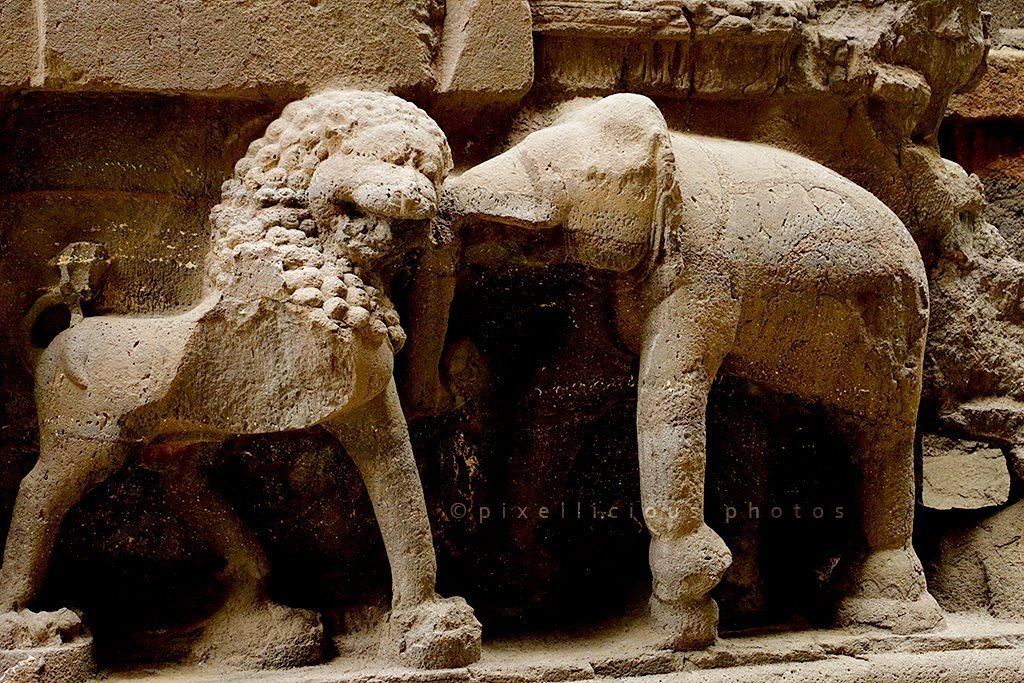 Sculpture at Ellora Caves