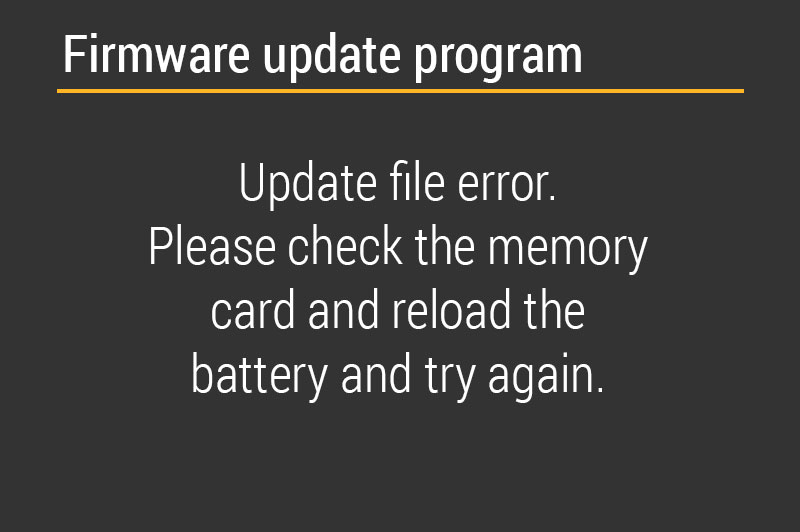 Firmware Update Program Error