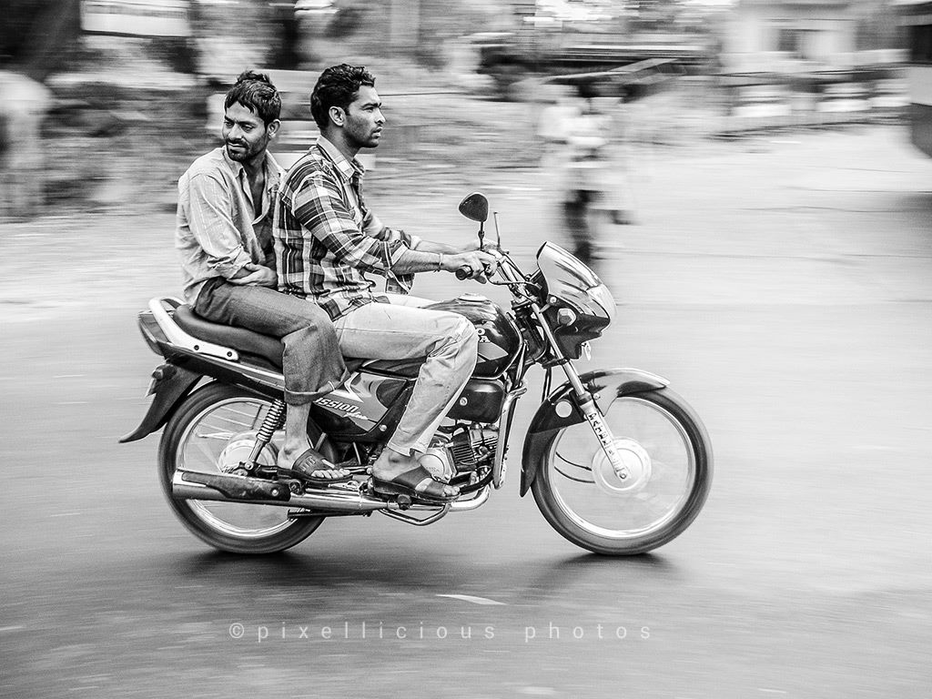 Panning Shot of a Bike Riders