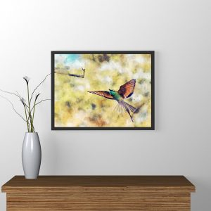 bee-eater-flight-water-color-style-framed-art