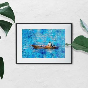 fisherman-sea-water-color-style-framed-art