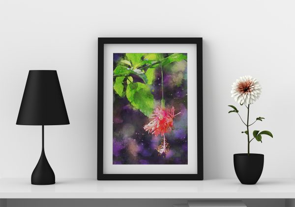 hibiscus-floral-water-color-style-framed-art