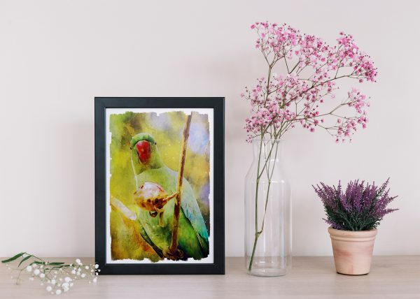 nature-parakeet-water-color-style-framed-art