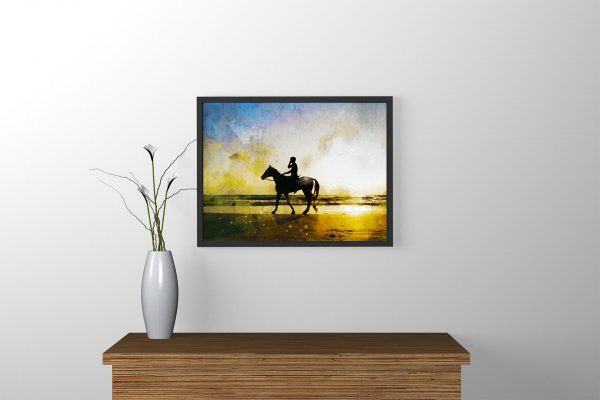 rider-at-sunset-water-color-style-framed-art