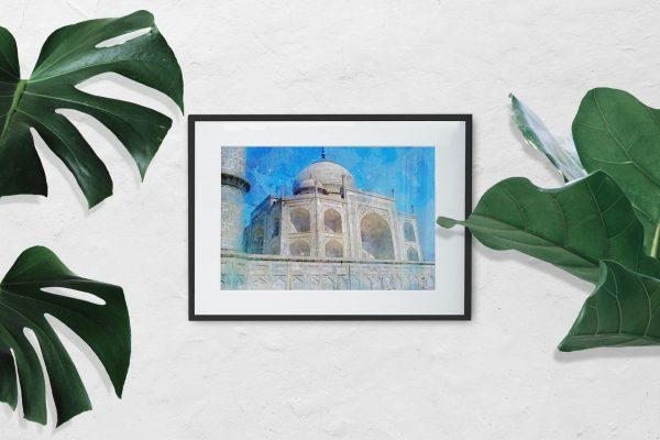 taj-mahal-water-color-style-framed-art